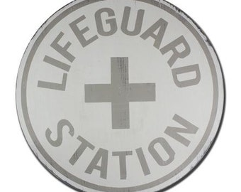 Lifeguard Station - Hand Painted Vintage Inspired Round Painted Wooden Sign - Life Guard