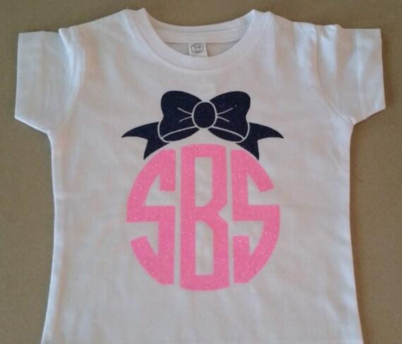 Items Similar To Girls Glitter Monogram T Shirt Or Tank