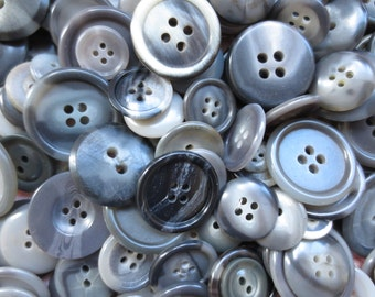 Vintage beautiful shades of gray assorted marble design round plastic buttons. Lot of 210 buttons