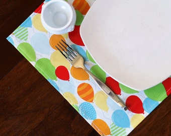 Placemats, Oilcloth placemats, Laminated Cotton placemats, bright birthday balloons; choose your set size; buy more save more