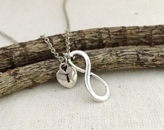 ON SALE, Infinity Necklace, Initial Necklace, Hand Stamped Necklace, Best friend Gift, Gift Ideas, Bridesmaid Necklace