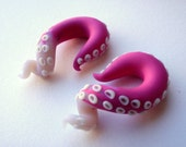 Calamari Tentacle Earring - 2 Gauge -0 Gauge- 00 Gauge - Pink