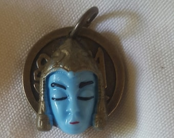 ART i Cake Antique Brass Coin with Blue Buddah Pendant