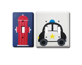 Switch Plate - Custom Hand Painted Wooden Light Switch or Electrical Cover Plate Policeman or Fireman Theme