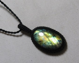 Labradorite - Marcrame Pendant - So Nice Full Flash Fire Oval shape Pendant - Stone size 25x37 mm Approx