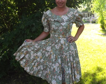 Pineapple Dress Floral Print Vintage 50s Square Dance Hawaiian Style Casual Full Skirt 80s S M