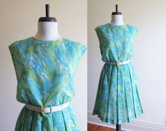 Vintage 1960s Dress / MARBLE Watercolour Print Cotton Dress / Size Medium or Large