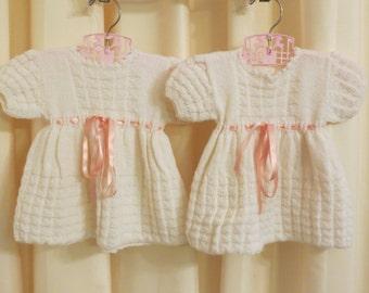 Vintage Handmade Knitted TWIN Girl Christening Formal Girl's Fancy Off White Ivory Dresses