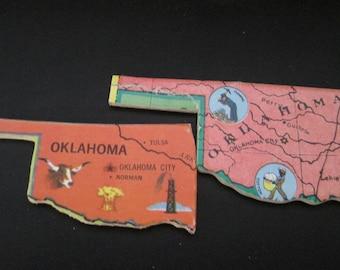 OKLAHOMA Vintage puzzle pieces- set of 2