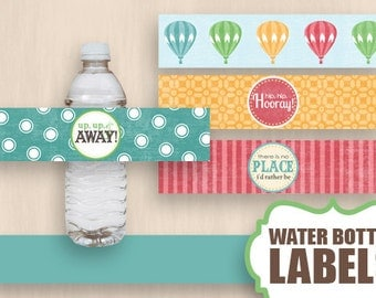 HOT AIR BALLOON Water Bottle Label Wrappers & Decorative Bands in VIntage Rainbow- Instant Printable Download