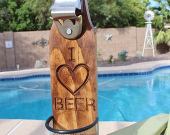 Wall Mounted Beer Bottle Opener With Cap Catcher I Love Beer-Carved