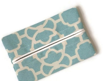 Travel Tissue Holder,Waverley Lovely Lattice, Turquoise and Ivory Geometric,  Kleenex Holder, Pocket Tissue Holder, Fabric Tissue Case