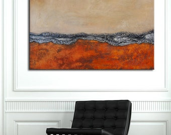 Abstract orange painting,  abstract landscape, original Large orange Painting, red art, Original Painting, Heavy Textured, Custom painting