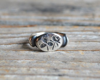 Sterling Silver Red Clover Botanical Ring, Botanical Jewelry, Ring, Stacking Ring, Flower Ring, Promise Ring, Gold + Bronze by Peg and Awl