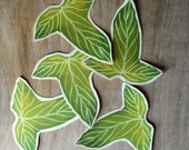 Green Leaves - Lorien Leaves - Hand cut prints of original watercolor leaves- Wedding - Event decoration