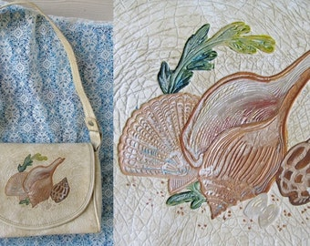 REDUCED PRICE Deep In The Sea Vegan Purse Faux Leather Shells Beach Shoulder Bag Vintage 70s