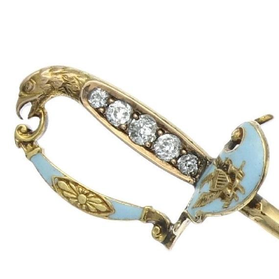 On Hold for Tim - Antique blue enamel diamonds sword gold pin Victorian era ref.12051-0065