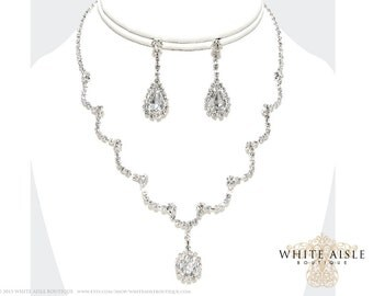 Rhinestone Drop Necklace Set, Bridal Statement Necklace, Wedding Jewelry, Vintage Inspired Necklace, Bridesmaids Jewelry