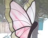 SPRING SALE Stained Glass, Butterfly Suncatcher, Textured Art Glass, Pink White Cream, Handmade Valentine, Window Decor