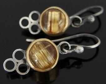 Rutilated Quartz, 18k Gold and Sterling Silver Earrings, Rutilated Quartz Earrings, Gold and Silver Mixed Metal Earrings