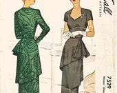 """Vintage 1940s Dress Sewing Pattern - McCall 7529 - Misses' Fitted One-Piece Dress with Draped Wrap-Around Peplum - Sz 20/Bust 38"""""""