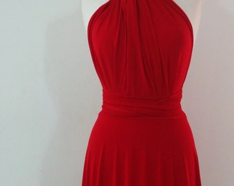 Bridesmaids dress in  red color   floor length  WITH TUBE TOP wrap dress Convertible/Infinity Dress