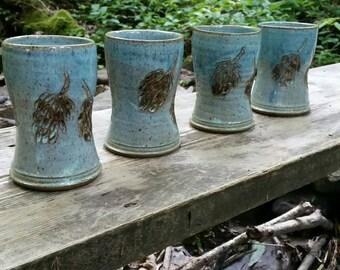 Stoneware Tumbler - Ceramic Tumbler - Cup -  Beer Hops Blue Green - Tea Tumbler - Craft Beer Vessel - Rustic - Water Cup