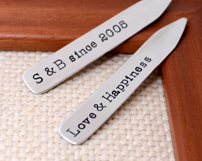 Personalized Collar Stays - Anniversary Gift, Gift for Husband, Groomsmen, Best Man Gift, Wedding,  Fathers Day Gift