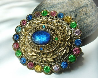 Vintage 1930s Little Nemo Rhinestone Pot Metal Filigree Brooch Multicolor - Art Deco - Signed L/N