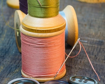 Sewing thread art for wall.  Sewing still life wall art or wall art from still photography.  Fine art print for home decor or wall art.