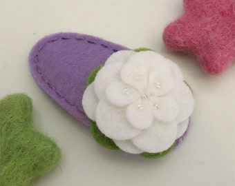 Felt hair clip -No slip -Wool felt -Ecru Petal -lavender