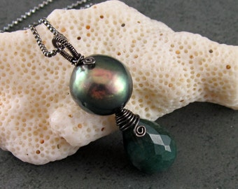 Emerald and pearl necklace, handmade sterling silver earrings-OOAK May birthstone