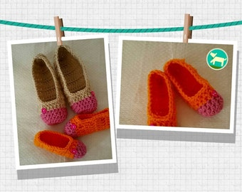 Crochet Slippers Womens Two Tone Flats Mommy Daughter set Toddler