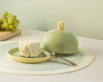 large green butter dish