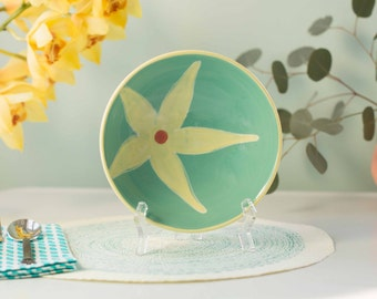 medium seafoam flower bowl