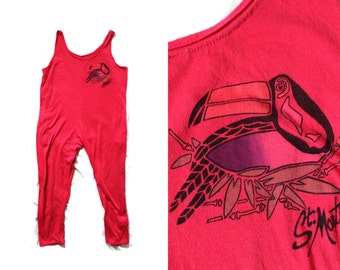 vintage romper girl's childrens clothing 1980s 80s hot pink st. martin toucan beach cover up size 10