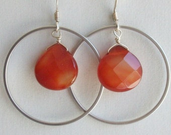 Carnelian Earrings, Circle earrings, Silver Earrings, Carnelian earrings, Hoop Earrings, Christmas, Sister, Mom, Bridal