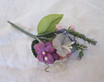 vintage millinery pick - purple flowers, velvet and fabric flowers