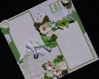 Baby Girl or Boy 12x12 Premade Scrapbook Layout journal tags