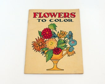 Flowers to Color 1920s Sam Gabriel Sons & Co Coloring Book No. 201 Scarce Uncolored Beautiful Illustration
