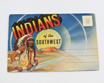Indians of the Southwest Large Letter Linen Postcard Fold Out Picture Booklet c 1940s Native American Colortone Images