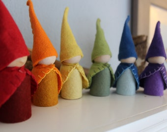 Waldorf Inspired Garden Pocket Gnome Rainbow Colors