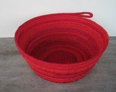Red Coiled Basket - Red Bowl - Red Fabric Vessel - Menarche Gift Basket Container