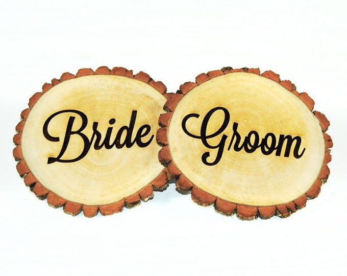 Personalized Tree slices 'Bride' & 'Groom' signs