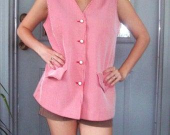 Vintage Vest - 1960s Polyester Double Knit Striped Vest Top - Sears - Large XL Candy Striper Vest - Ice Cream Soda Shop - EUC Pristine