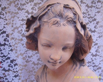 SALE-Signed French Maiden Girl with Bonnet Statue Bust-SALE