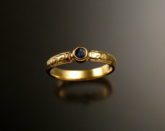 Sapphire Wedding set 14k Yellow Gold Victorian bezel set deep blue Sapphire ring made to order in your size