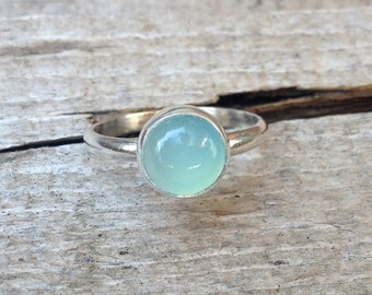Solitaire Aqua or Blue Chalcedony 8mm Round Ring in Sterling Silver