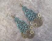 SALE - Patina Chandelier Earrings with Oriental coin charms - Filigree Gypsy Earrings - Patina Boho Earrings