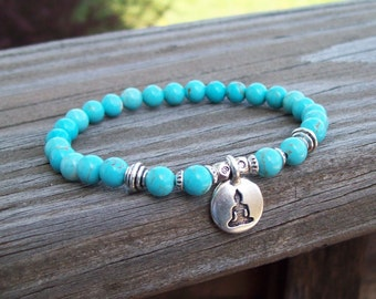 Turquoise Howlite Beaded Meditation Stretch Bracelet with sitting Buddha charm, stretch bracelet, yoga bracelet